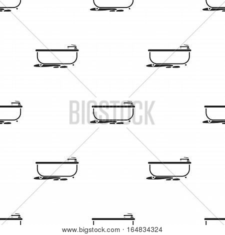Bathtub icon in black style isolated on white background. Plumbing pattern vector illustration.
