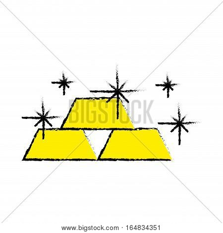 gold bullion icon over white background. colorful design. vector illustration