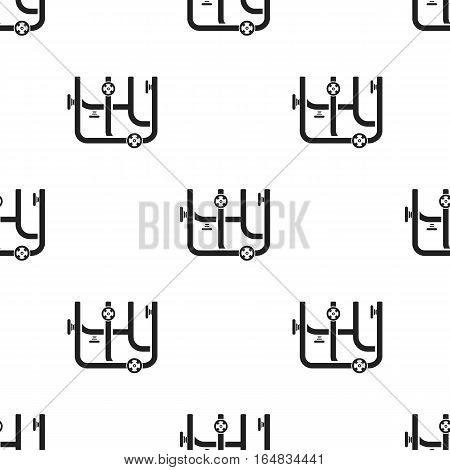Pipes with valves icon in black style isolated on white background. Plumbing pattern vector illustration.