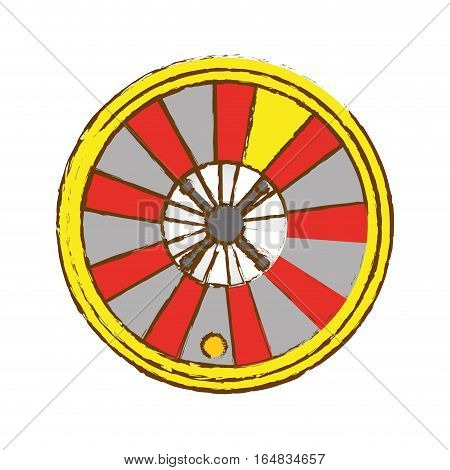 casino roulette wheel icon over white background. gambling games concept. colorful design. vector illustration