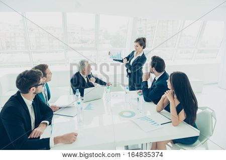 Young Businesswoman Presenting Her Financial  Idea At Meeting