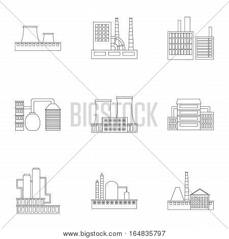 Factory set icons in outline style. Big collection of factory vector symbol stock