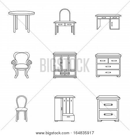Furniture and home interior set icons in outline design. Big collection of furniture and home interior vector symbol stock illustration