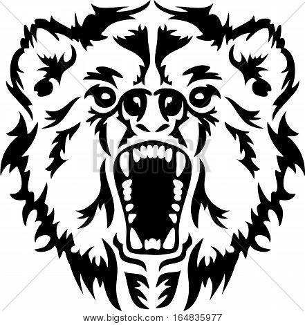 Angry Bear Head growling black animal power