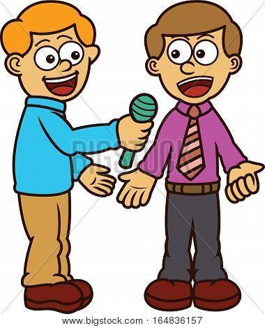 Man Being Interviewed By Journalist Cartoon Illustration