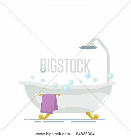 Bathroom with shower isolated on white background. Soap bubbles or foam. Purple golden towel on a hanger. Vector, illustration EPS10