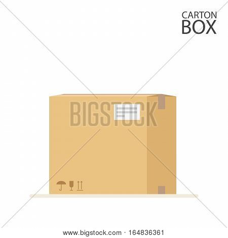 Carton box to send mail or packages sealed with adhesive tape and label. Flat Illustration isolated on white background. Vector, EPS10