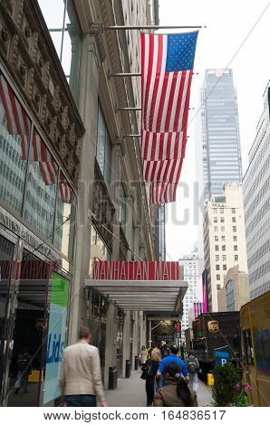 NEW YORK - MAY 3 2016: entrance of the manhattan mall. It is located in the heart of Midtown Manhattan 1/2 block from the Empire State Building Penn Station and Madison Square Garden