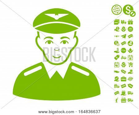 Aviator pictograph with free bonus pictograph collection. Vector illustration style is flat iconic symbols eco green color white background.