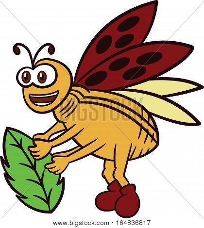 Ladybug Carrying Leaf Cartoon Illustration Isolated on White Background