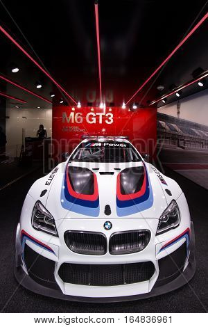 DETROIT MI/USA - JANUARY 9 2017: A BMW M6 GT3 IMSA race car at the North American International Auto Show (NAIAS).