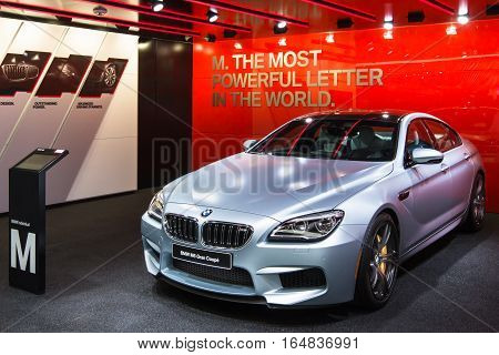 DETROIT MI/USA - JANUARY 9 2017: A 2017 BMW M6 Gran Coupe car at the North American International Auto Show (NAIAS).
