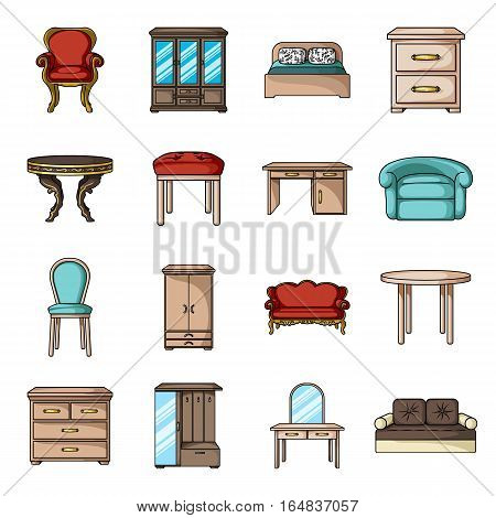 Furniture and home interior set icons in cartoon style. Big collection of furniture and home interior vector symbol stock