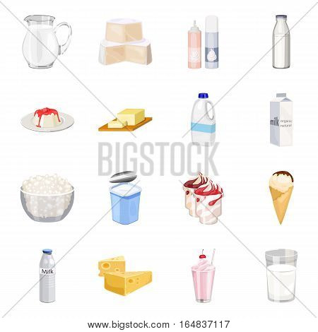 Milk product and sweet set icons in cartoon style. Big collection of milk product and sweet vector symbol stock