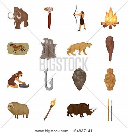 Stone age set icons in cartoon style. Big collection of stone age vector symbol stock