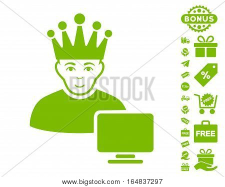Computer Moderator pictograph with free bonus clip art. Vector illustration style is flat iconic symbols eco green color white background.