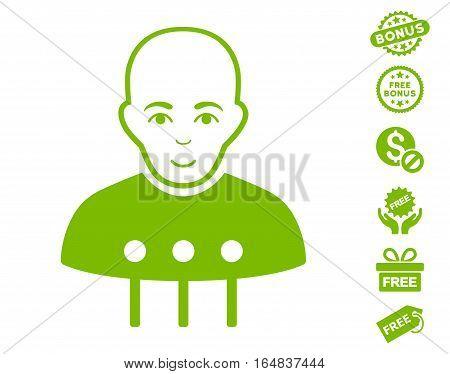 Cyborg Interface pictograph with free bonus symbols. Vector illustration style is flat iconic symbols eco green color white background.
