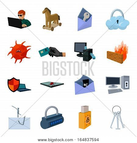 Hackers and hacking set icons in cartoon design. Big collection of hackers and hacking vector symbol stock illustration