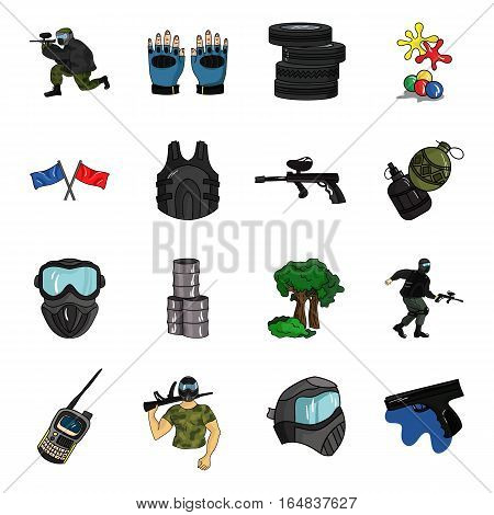 Paintball set icons in cartoon design. Big collection of paintball vector symbol stock illustration