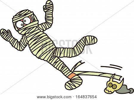 Mummy Zombie Falling Down Cartoon Cartoon Illustration