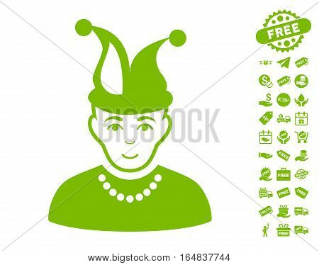 Fool pictograph with free bonus symbols. Vector illustration style is flat iconic symbols eco green color white background.