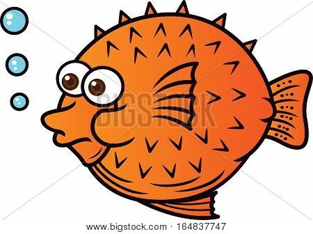 Puffer Fish Cartoon Charecter. Vector Illustration Isolated on White.