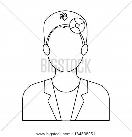 Pet doctor icon in outline design isolated on white background. Veterinary clinic symbol stock vector illustration.