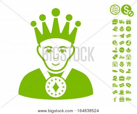 King icon with free bonus graphic icons. Vector illustration style is flat iconic symbols eco green color white background.