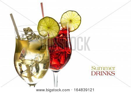 Red and yellow cocktail fresh mixed drinks from juice of limonene grapefruit cherries berries and ice with or without alcohol isolated on a white background sample text Summer Drinks selective fokus narrow depth of field