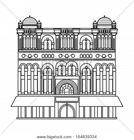 Queen Victoria Building icon in outline design isolated on white background. Australia symbol stock vector illustration.