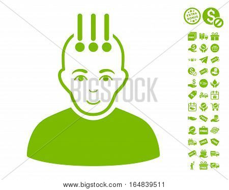 Neural Interface pictograph with free bonus pictograms. Vector illustration style is flat iconic symbols eco green color white background.