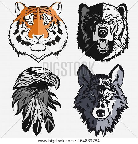 Tiger Eagle Wolf Bear logo Template, Hawk Grizzly Coyote Mascot head, wild animal portrait, bolt emblem, predator face silhouette, Hand drawn Emblem t-shirt design. Vector