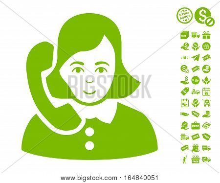 Receptionist icon with free bonus images. Vector illustration style is flat iconic symbols eco green color white background.