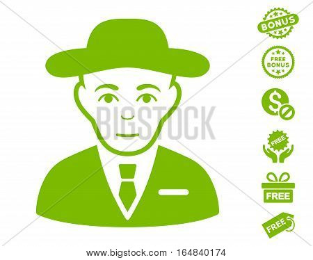 Secret Service Agent icon with free bonus clip art. Vector illustration style is flat iconic symbols eco green color white background.