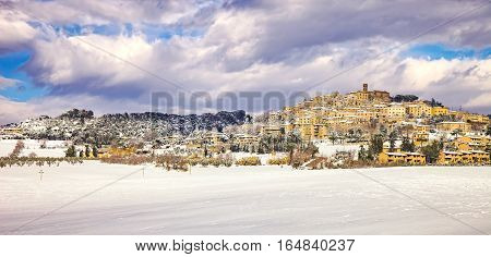 Snow in Tuscany Casale Marittimo old rural village winter. Maremma Italy Europe
