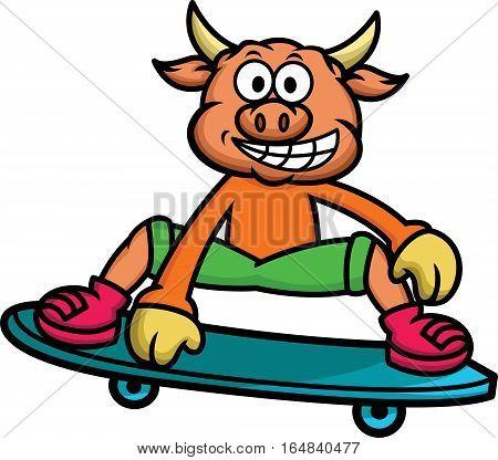 Bull Skateboarding Cartoon Animal Character. Vector Illustration Isolate on White.