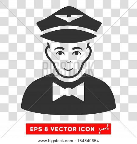 Airline Steward EPS vector pictograph. Illustration style is flat iconic gray symbol on chess transparent background.