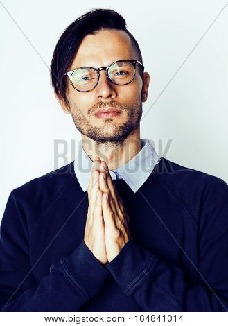 handsome middle age hipster man with modern hairstyle and tattoo, beard, close up on white background lifestyle people