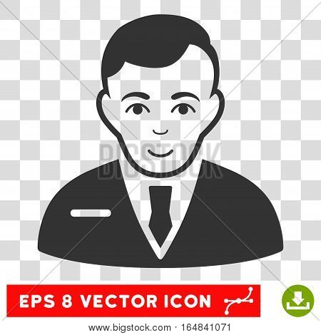 Businessman EPS vector icon. Illustration style is flat iconic gray symbol on chess transparent background.