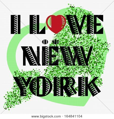 Print with lettering about New York and green glitter scattering in shape of city map with heart frame. Pattern for souvenir fabric textiles clothing shirts banners. Vector illustration