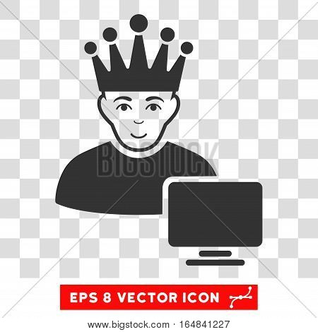 Computer Moderator EPS vector pictograph. Illustration style is flat iconic gray symbol on chess transparent background.