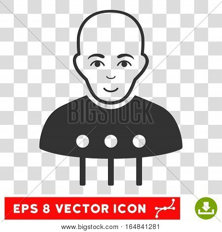 Cyborg Interface EPS vector icon. Illustration style is flat iconic gray symbol on chess transparent background.