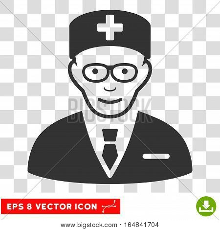 Head Physician EPS vector pictogram. Illustration style is flat iconic gray symbol on chess transparent background.
