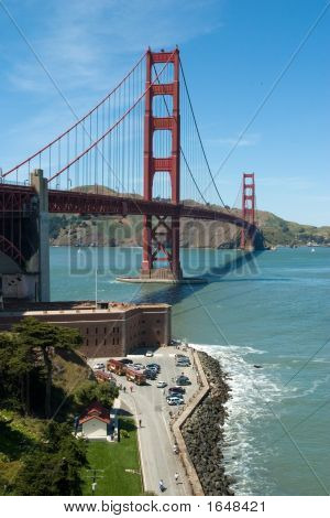 Golden Gate Bridge And Rocks