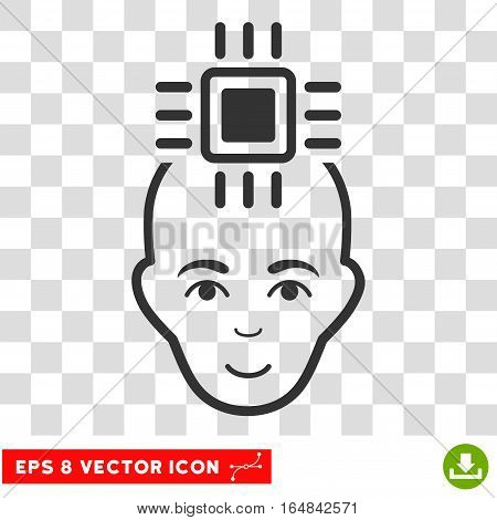 Neural Computer Interface EPS vector pictograph. Illustration style is flat iconic gray symbol on chess transparent background.