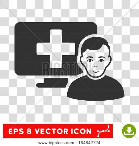 Online Medicine EPS vector icon. Illustration style is flat iconic gray symbol on chess transparent background.