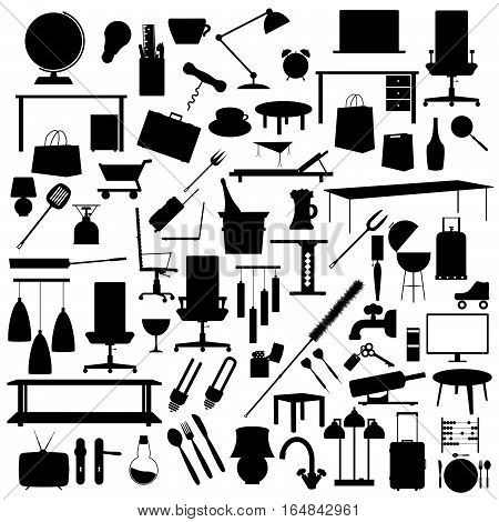 Tool Set In Black Color Illustration On White Background