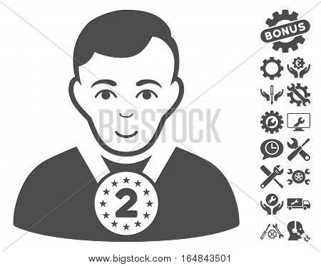 2nd Prizer Sportsman icon with bonus tools images. Vector illustration style is flat iconic gray symbols on white background.