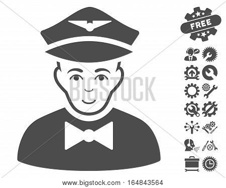 Airline Steward pictograph with bonus setup tools pictures. Vector illustration style is flat iconic gray symbols on white background.