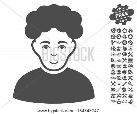 Brunet Man icon with bonus settings clip art. Vector illustration style is flat iconic gray symbols on white background.